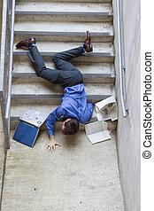 lefelé, esés, lépcsősor, ember