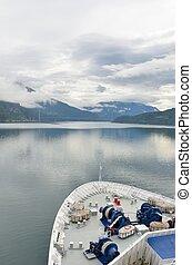lefelé, hajó, fjord, rovat, cirkálás