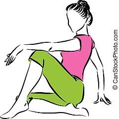lefelé, mintakészítés, nő, illustr, ülés