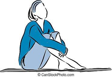lefelé, nő, illustrati, kipiheni magát, ülés