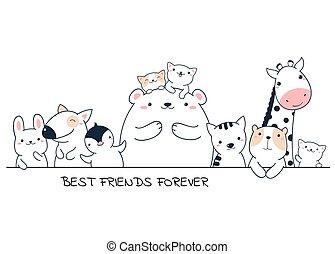 legjobb, állatok, poszter, barátok, horizontális, csinos, forever.