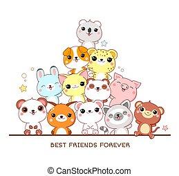 legjobb, derékszögben, állatok, poszter, barátok, csinos, forever.