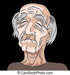 lehangolt, bús, öreg, karikatúra, ember
