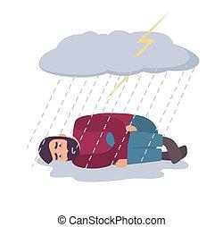 lehangolt, concept., depresszió, bús, rain., megrohamoz, alatt, pasas, felhő, ember