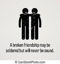 lehet, lenni, barátság, soldered, törött