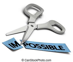 lehetetlen, felett, alkatrészek, háttér, olló, possible., két, im, elvág, szó, fehér