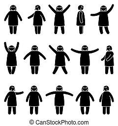 lejtő, elhízott, ábra, nő, kézbesít, hegyezés, vektor, beállít, set., ikon, kiállítás, elülső, kilátás, női, hullámzás, különböző, bot, álló, pictogram, kövér, árnykép, feláll, alak