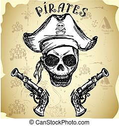 lelő, kalap, kalóz, koponya