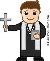 lelkész, vektor, keresztény, karikatúra