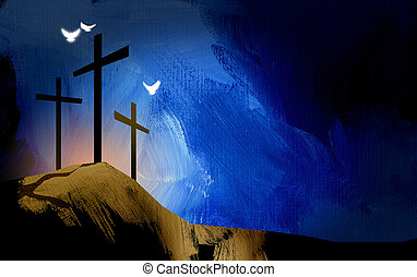 lelki, grafikus, keresztény, jézus, keresztbe tesz, táj, gerle