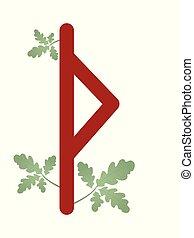 lelki, irodalomtudomány, runes, jelkép, esoteric., gyapjú, ábra, scandinavia., futhark., vektor, thurisaz., zöld