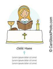 lelki közösség, card., lány olvas, biblia