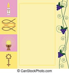lelki közösség, először, kártya, /, vallásos, jámbor