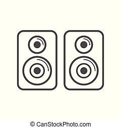 lemezjátszó, egyszerű, beszélő, tervezés, fehér, ikon
