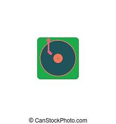 lemezjátszó, vektor, ikon