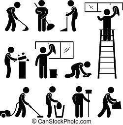 lemos, kitakarít, porszívó, munkás