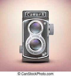 lencse, szüret, ikergyermek, fényképezőgép, visszfény
