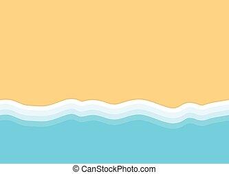 lenget, background-, tengerpart, vektor, tető, ábra, homokos, kilátás, tenger