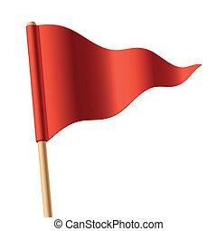 lenget lobogó, háromszögű, piros