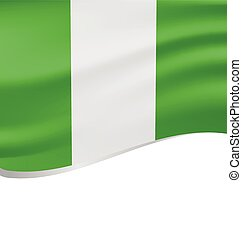 lenget lobogó, nigéria, elszigetelt, fehér