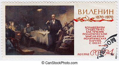 :, lenin, bélyeg, vradimir, -, 1970, szovjetúnió, nyomtatott, portré, cirka, látszik