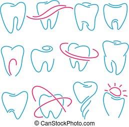 lenni, állhatatos, ikonok, stomatology, fog, háttér., fogász, használt, klinika, konzerv, jel, fehér, fogászati, fog, vagy