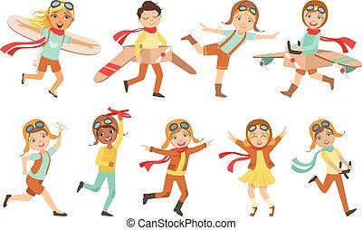 lenni, gyerekek, állhatatos, ábrándozás, próba, játék