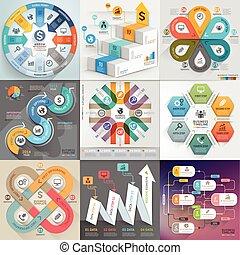 lenni, használt, transzparens, ügy, workflow, timeline, set., szám, alaprajz, ábra, infographic, háló, sablon, opciók, tervezés, alapismeretek, konzerv