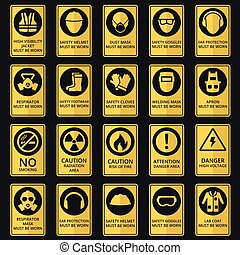 lenni, kopott, felszerelés, egészség, biztonság, signs., kell