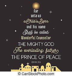 lenni, születésű, herceg, atya, hívott, bennünket, biblia, övé, név, vers, isten, rejtegető, karácsony, chronicles, shall, örökkévaló, béke, csodálatos, erős, unto, gyermek, nyomdászat