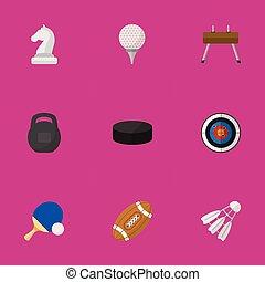 lenni, ui, állhatatos, mozgatható, icons., konzerv, editable, használt, beleértve, jelkép, tollaslabda, infographic, more., háló, 9, hasonló, gir, sport, csavaralátét, design.