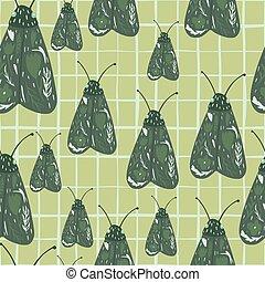 lepke, alapismeretek, pattern., moth, seamless, zöld, kockás, háttér., kéz, húzott, véletlen, sárga, sápadt, éjszaka, nyomtat