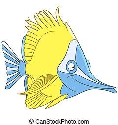 lepke, csinos, fish, karikatúra