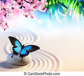 lepke, fogalom, kert, zen, -, japán, sakura, kivirul, kő