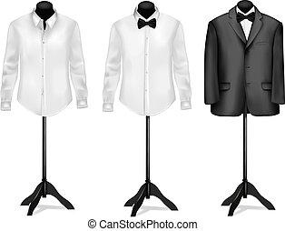 lepke, ing, mannequins., vektor, black öltöny, fehér, illustration.