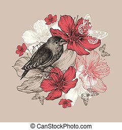 lepke, madár, virág, alma, fa., háttér, virágzás