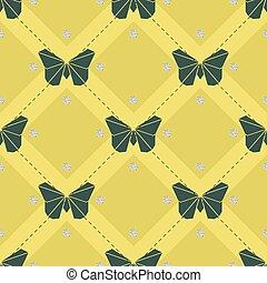 lepke, motívum, seamless, sárga zöld, háttér, origami, fénylik, ezüst, pont