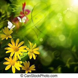 lepke, nyár, virág, művészet, elvont, háttér.