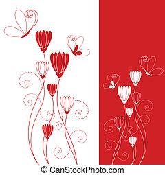 lepke, piros virág, elvont