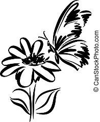 lepke, tetovál, virág, vektor, ábra