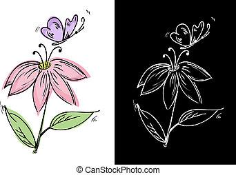 lepke, virág, rajz