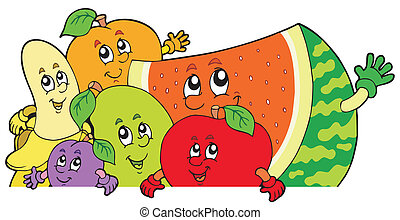 leselkedő, karikatúra, gyümölcs