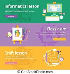 lessons., lakás, állhatatos, klasszikus, materials., hajó, tervezés, szövedék fogalom, nyomtat, informatics, szalagcímek, oktatás, művészet