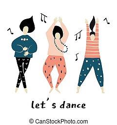 lets, dance., lány, tánc