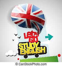 let's, jár, tanul, háttér, angol