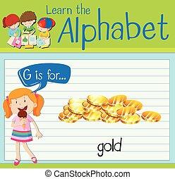 levél, flashcard, arany, g betű