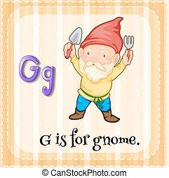 levél, flashcard, gnóm, g betű