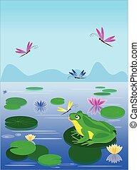 levél növényen, ülés, béka, zöld, liliom, karikatúra