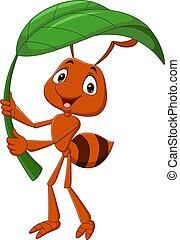 levél növényen, birtok, zöld, karikatúra, hangya, csinos