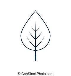 levél növényen, fehér, vektor, háttér, elszigetelt, ikon